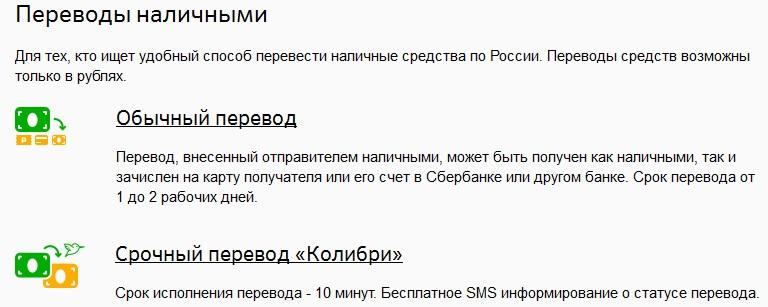 Денежные переводы Сбербанк